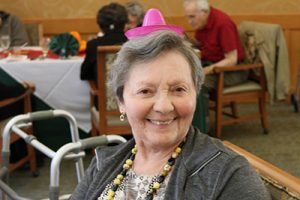 woman wearing a party hat