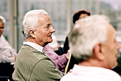 Seniors attending a support group